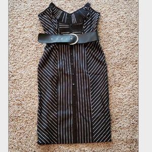 Black Pinstripe Midi Dress